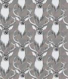 Bezszwowy wzór z jelenimi głowami ręka patroszona Zdjęcia Royalty Free