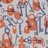 Bezszwowy wzór z kłódkami i kluczami ilustracji