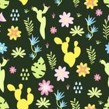 Bezszwowy wzór z kaktusów kwiatów wektorową ilustracją, eps ilustracja wektor