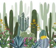 Bezszwowy wzór z kaktusem, agawą i opuntia, royalty ilustracja
