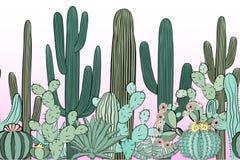 Bezszwowy wzór z kaktusem Dziki kaktusowy las ilustracja wektor