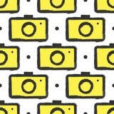 Bezszwowy wzór z kamerami Grunge, atrament, watercolour ilustracji