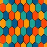 Bezszwowy wzór z karową siatką Żółw skorupy motyw Honeycomb tapeta Częstotliwi rhombuses i lozenges postacie Zdjęcie Stock