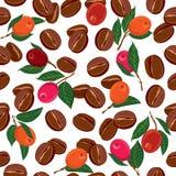 Bezszwowy wzór z kawowymi fasolami, Zdjęcia Stock