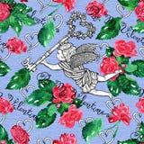 Bezszwowy wzór z kluczem, tekstem i kwiatami na błękitnej teksturze anioła mienia, Obrazy Royalty Free