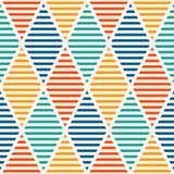 Bezszwowy wzór z klującymi się diamentami Argyle tapeta Rhombuses i lozenges motyw Częstotliwe geometryczne postacie Zdjęcia Royalty Free