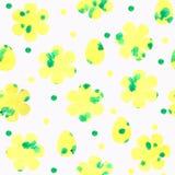 Bezszwowy wzór z kolorów żółtych kwiatami i jajkami, kropki na białym tle royalty ilustracja