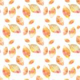 Bezszwowy wzór z kolorowej ręki jesieni rysunkowymi liśćmi Obraz Royalty Free