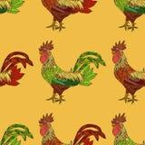 Bezszwowy wzór z kolorowym kogutem Obraz Royalty Free