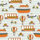 Bezszwowy wzór z kolorowym transportem Fotografia Royalty Free