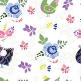 Bezszwowy wzór z kolorowymi doodle ptakami ilustracji