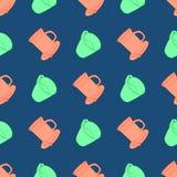 Bezszwowy wzór z kolorowymi filiżankami Obraz Stock
