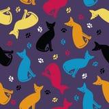 Bezszwowy wzór z kolorowymi kotami i śladami ilustracji