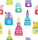 Bezszwowy wzór z kolorowymi kreskówka domami Obraz Royalty Free