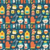 Bezszwowy wzór z kolorowymi kulinarnymi ikonami Zdjęcia Royalty Free