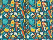 Bezszwowy wzór z kolorowymi kulinarnymi ikonami Fotografia Royalty Free
