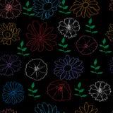 Bezszwowy wzór z kolorowymi kwiatami na czerni Obrazy Royalty Free