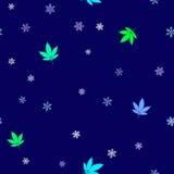 Bezszwowy wzór z kolorowymi marihuana liśćmi, płatkami śniegu i ilustracja wektor