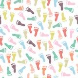 Bezszwowy wzór z kolorowymi odciskami stopy Fotografia Stock