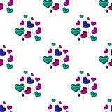 Bezszwowy wzór z kolorowymi pasiastymi sercami Obrazy Royalty Free
