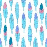 Bezszwowy wzór z kolorowymi piórkami Fotografia Royalty Free