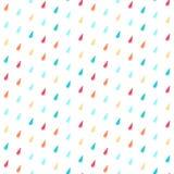 Bezszwowy wzór z kolorowymi podeszczowymi kroplami Fotografia Royalty Free
