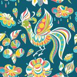 Bezszwowy wzór z kolorowymi ptakami i kwiatami Obraz Royalty Free