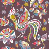 Bezszwowy wzór z kolorowymi ptakami i kwiatami Zdjęcie Royalty Free