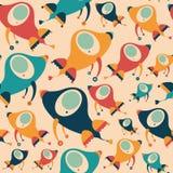Bezszwowy wzór z kolorowymi retro rakietami Zdjęcia Royalty Free
