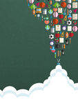 Bezszwowy wzór z kolorowymi szkolnymi ikonami na tle Obrazy Royalty Free