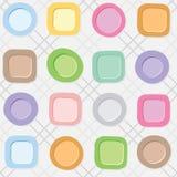 Bezszwowy wzór z Kolorowymi talerzami na w kratkę białym tle Fotografia Royalty Free