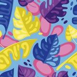 Bezszwowy wzór z kolorowymi tropikalnymi liśćmi w mieszkanie stylu Obrazy Royalty Free