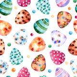 Bezszwowy wzór z Kolorowymi Wielkanocnymi jajkami Clipart na białym bqckground ilustracji