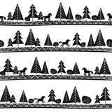 Bezszwowy wzór z koniami i drzewami Obrazy Royalty Free