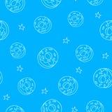Bezszwowy wzór z konturowymi elementami: donuts, gwiazdy Wektorowy tło Zdjęcia Stock
