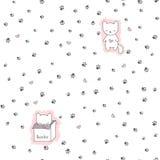 Bezszwowy wzór z kotami i odciskiem stopy Obraz Royalty Free