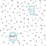 Bezszwowy wzór z kotami i odciskiem stopy Obrazy Royalty Free