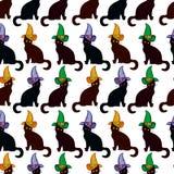 Bezszwowy wzór z kotem w czarownica kapeluszu ilustracja wektor