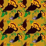 Bezszwowy wzór z kotem w czarownica kapeluszu royalty ilustracja