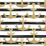 Bezszwowy wzór z kotwicami Nautyczne tła złota kotwicy błękitny morski denny bezszwowy temat również zwrócić corel ilustracji wek royalty ilustracja