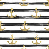 Bezszwowy wzór z kotwicami Nautyczne tła złota kotwicy błękitny morski denny bezszwowy temat również zwrócić corel ilustracji wek ilustracji