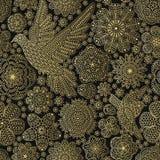 Bezszwowy wzór z kreatywnie kwiatami i ptakami Obrazy Stock