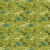 Bezszwowy wzór z kreskówek seashells i wielorybami Zdjęcia Royalty Free