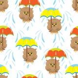 Bezszwowy wzór z kreskówki brązu sowami i kolorowymi parasolami royalty ilustracja