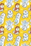 Bezszwowy wzór z kreskówki samoyed śmiesznymi psami na żółtym tle Śliczny kreskówka szczeniaków wektoru tło ilustracja wektor