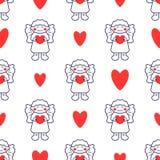 Bezszwowy wzór z kreskowego stylu ikoną anioł i serce Wakacyjny tło dla bożych narodzeń i nowego roku karty royalty ilustracja