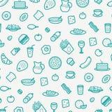 Bezszwowy wzór Z Kreskowymi ikonami jedzenie Lubi kiełbasę, tort, pączek, Croissant, bekon, Muffins, kawę, sałatki, etc ilustracji