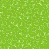 Bezszwowy wzór z kreskowymi jabłkami na zielonym tle Fotografia Royalty Free