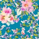 Bezszwowy wzór z kwiat akwarelą Zdjęcie Royalty Free