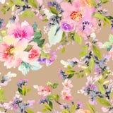 Bezszwowy wzór z kwiat akwarelą Obraz Stock
